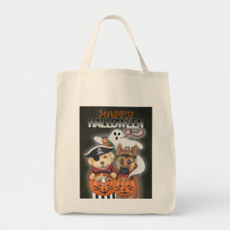 Halloween Lab, Shepherd, and Parrot in Costumes Tote Bag