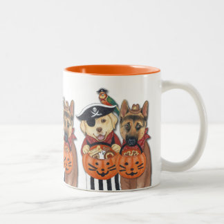 Halloween Lab, Shepherd, and Parrot in Costumes Two-Tone Coffee Mug
