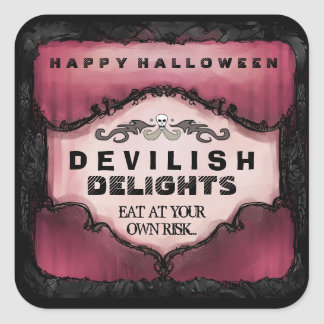 Halloween Label - Red & Black Large Square Square Sticker