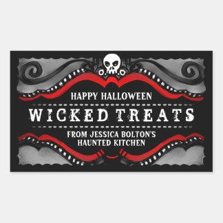 Halloween Label Treats & Drinks Black White & Red