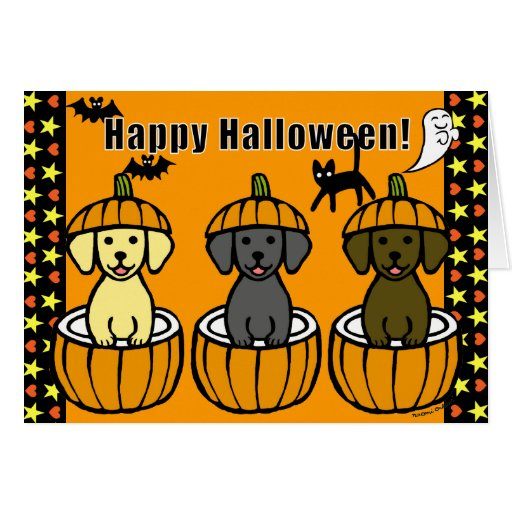 Halloween Labrador Puppies and Pumpkins Card