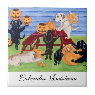 Halloween Labradors Painting Ceramic Tile