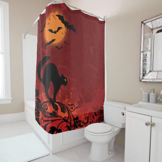 Halloween landscape: cat on vines, moon, bats shower curtain