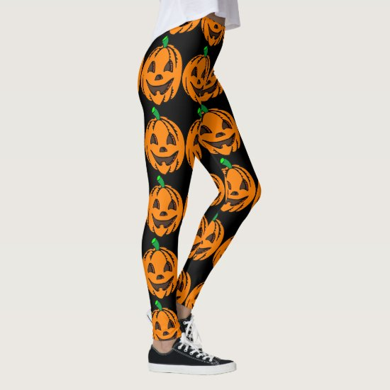 Halloween Leggings Jack-O-Lanterns Orange Pumpkins