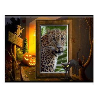 Halloween Leopard Postcard