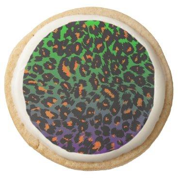 Halloween Themed Halloween Leopard Print Fade Pattern Round Shortbread Cookie