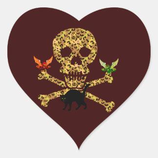Halloween Leopard Skull Heart Sticker