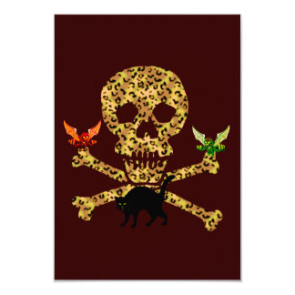 Halloween Leopard Skull 3.5x5 Paper Invitation Card
