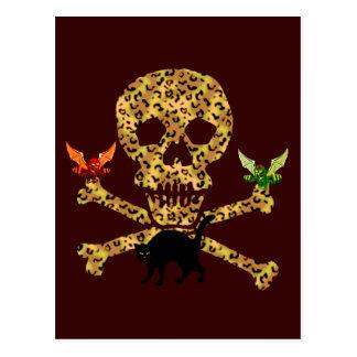 Halloween Leopard Skull Post Cards