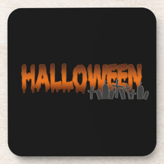Halloween lettering tombs coasters