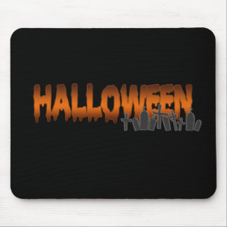 Halloween lettering tombs mouse pad