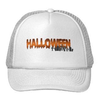 Halloween lettering tombs trucker hat
