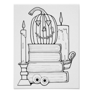 Halloween Library Cardstock Adult Coloring Page Poster