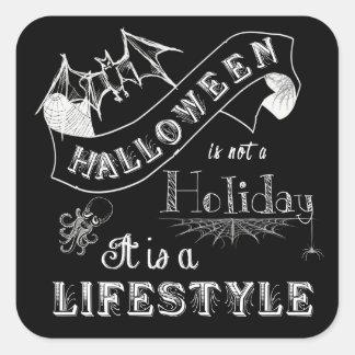 Halloween Lifestyle Chalk Art Square Sticker