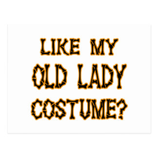 Halloween -like my old lady  costume postcard