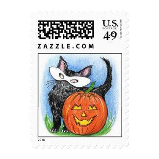 Halloween lindo JOL y gatito en sellos del sello d