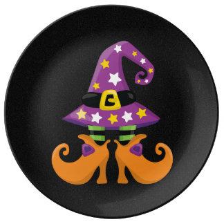 Halloween lindo retro platos de cerámica