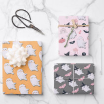 Halloween Little Boo Ghosts Wrapping Paper Sheets