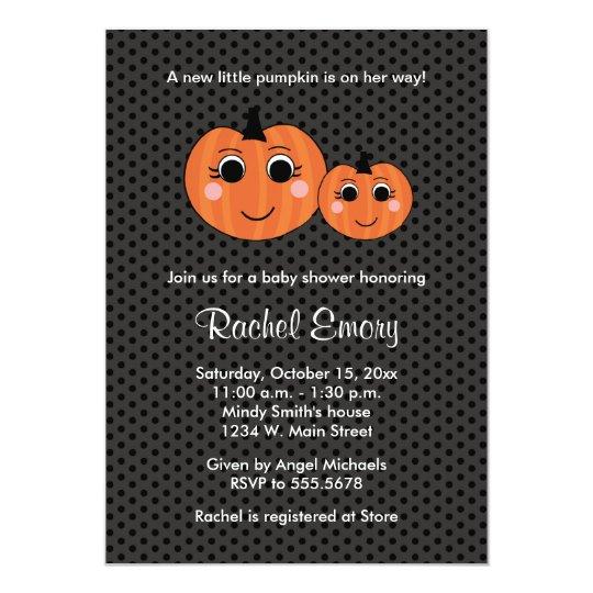 Halloween Little Girl Pumpkin Baby Shower Card