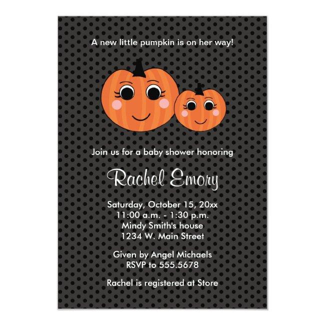 Halloween Little Girl Pumpkin Baby Shower Invitation