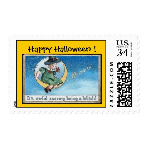 Halloween Little Girl Witch on Cresent Moon -Stamp