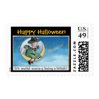 Halloween Little Girl Witch on Cresent Moon -Stamp Postage
