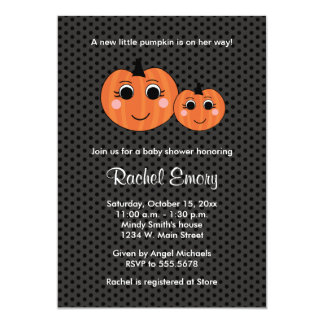 Halloween Little Pumpkin Baby Shower Invitations