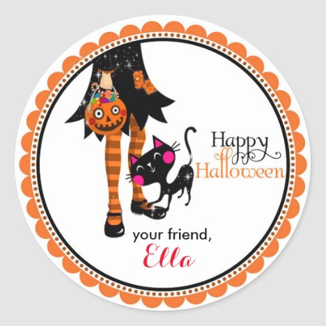 Halloween Little Witch goodie bag favor stickers
