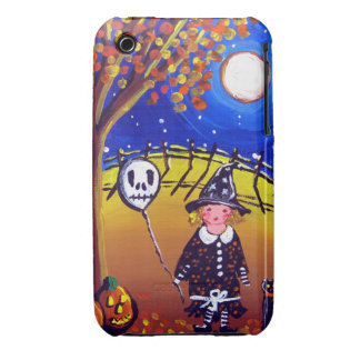 Halloween Little Witch with Skull Balloon iPhone iPhone 3 Case