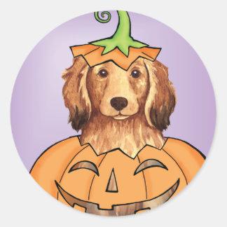 Halloween Longhaired Dachshund Classic Round Sticker