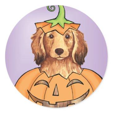 Halloween Themed Halloween Longhaired Dachshund Classic Round Sticker