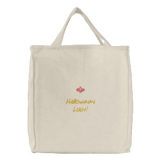 Halloween Loot Natural Embroidered Bag Canvas Bags