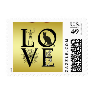 Halloween Love Gold Scary Vintage Postage