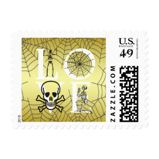 Halloween Love Gold Skeleton Scary Vintage Postage
