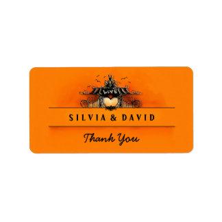 Halloween Love - Orange & Black Thank You Label
