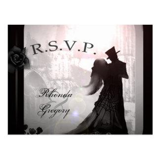 Halloween Lovers Silhouette Matching RSVP PostCard