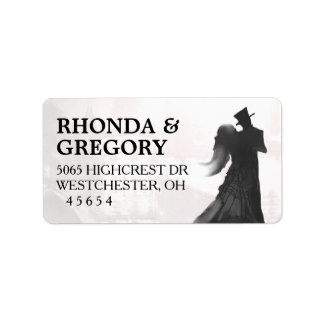 Halloween Lovers Silhouette Matching Wedding Label