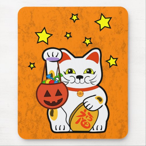Halloween lucky cat mouse pad
