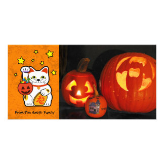 Halloween lucky cat. custom photo card