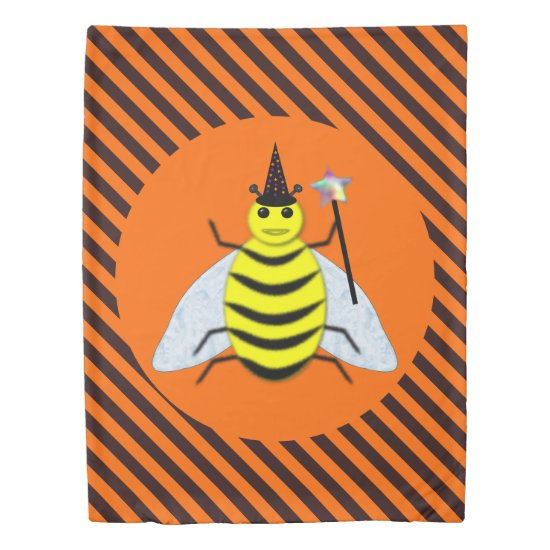 Halloween Magic Bee Witch Orange and Black Stripes Duvet Cover