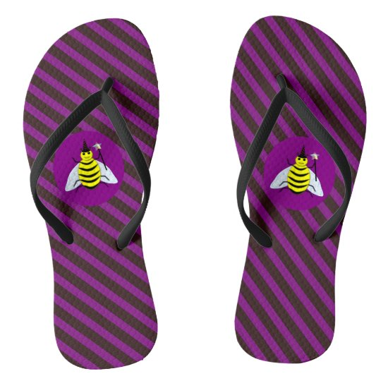 Halloween Magic Bee Wizard Purple and Black Stripe Flip Flops