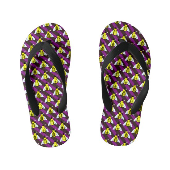 Halloween Magic Bee Wizard Purple and Black Stripe Kid's Flip Flops