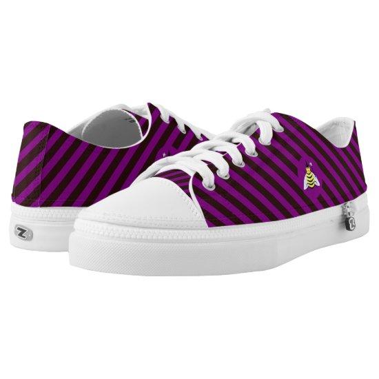 Halloween Magic Bee Wizard Purple and Black Stripe Low-Top Sneakers