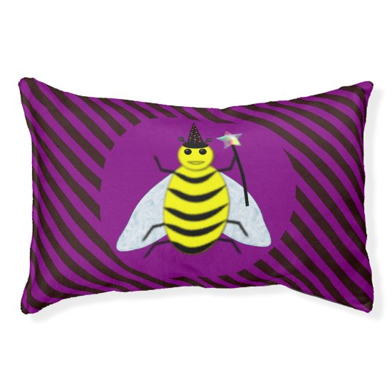 Halloween Magic Bee Wizard Purple and Black Stripe Pet Bed