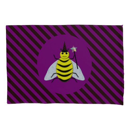 Halloween Magic Bee Wizard Purple and Black Stripe Pillow Case