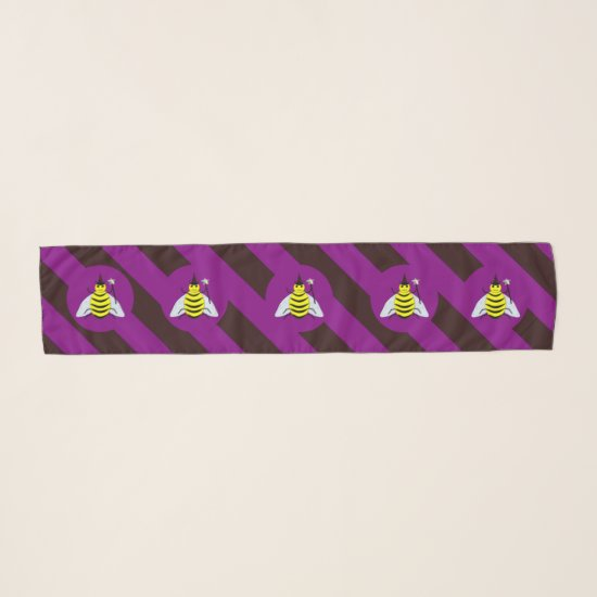 Halloween Magic Bee Wizard Purple and Black Stripe Scarf
