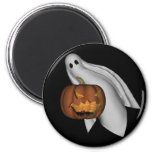 Halloween Magnet with ghost and jack o' lantern