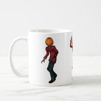 Halloween man with pumpkin head mud coffee mug