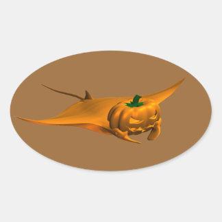 Halloween Manta Ray Oval Sticker