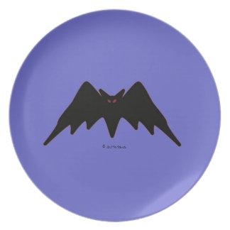 Halloween Martzkin Black Vampire Bat Plate